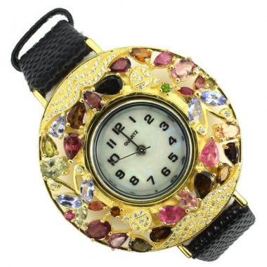 Природный Турмалин и Танзанит Серебряные Часы на Кожаном Ремешке