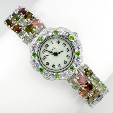 Роскошные Серебряные Часы с Редкими Турмалином, Цаворитом и Танзанитом