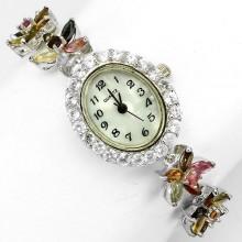 Красивые Ювелирные Женские Часы из Серебра с Турмалином и Топазом