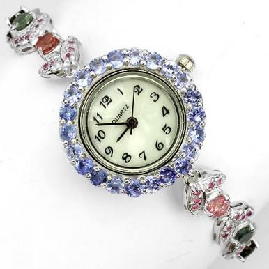 Милые Часы из Серебра для Женщин с Турмалином, Танзанитом и Рубином