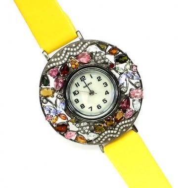 Великолепные Ювелирные Часы для Женщин с Турмалином на Кожаном Ремешке