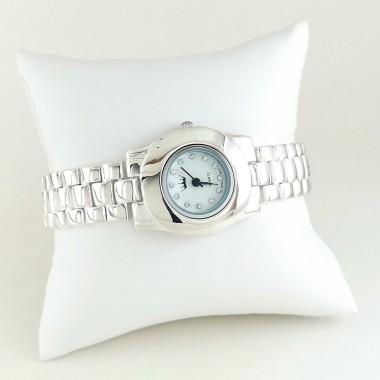 Классические Серебряные Часы для Женщин с Серебряным Браслетом